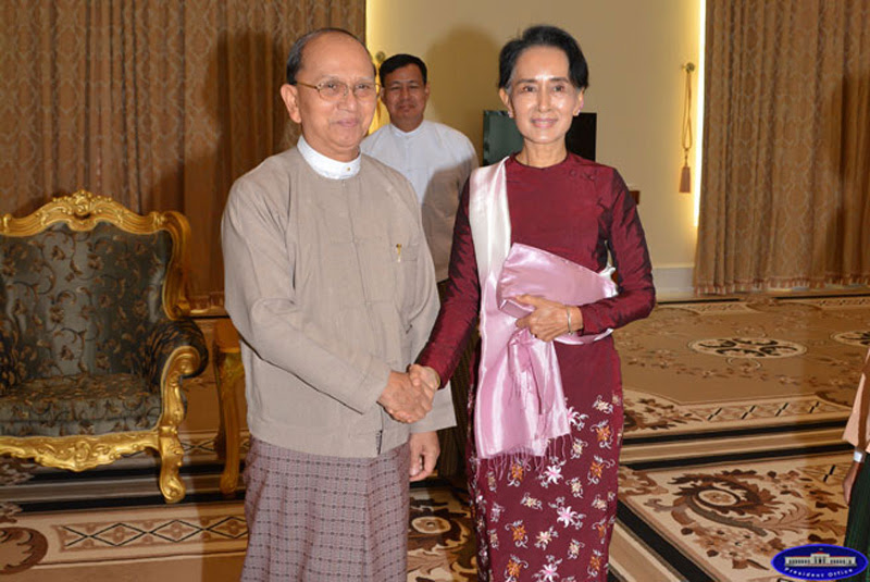 Outgoing President Thein Sein and Aung San Suu Kyi, December 2, 2015
