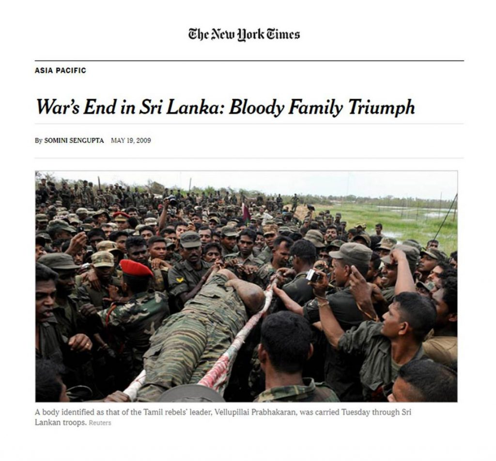 End of Sri Lanka Civil War, comes with an estimated 40,000 to 70,000 deaths, a figure denied by the government, which restricts access to the site by international observers.